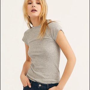 Free people easy baby tee in gray..size medium